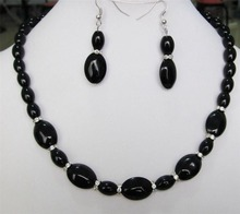 2017 Beautiful 8X12MM & 13X18mm Black Onyx Gems Necklace Earrings set Fashion Beads Jewelry Sets Natural Stone Women Girls Gifts