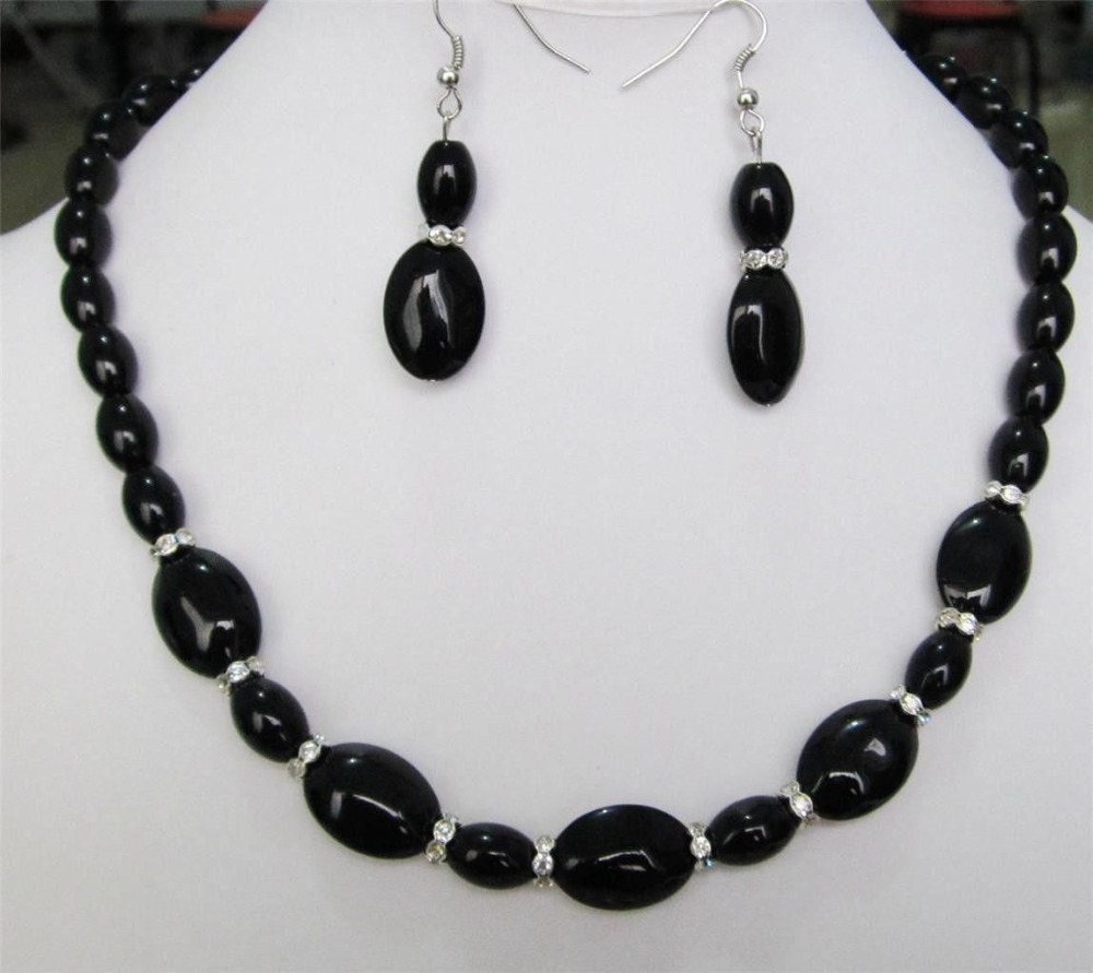 2017 Beautiful 8X12MM & 13X18mm Black Onyx Gems Necklace Earrings set Fashion Beads Jewelry Sets Natural Stone Women Girls Gifts(China)