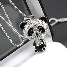 Hot Sale Women Silver Panda Aolly Long Pattern Diamante Pendant Necklace Sweater Chain Gift Fashion Jewelry