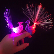 10pcs Creative peacock finger lights, Halloween LED luminous colour rings children's day/Birthday party gifts toys Free shipping
