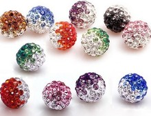 50pcs/lot 10mm mixed Gradient change Colorful Crystal Shamballa Beads Pave Clay Disco Ball Bracelet Necklace DIY