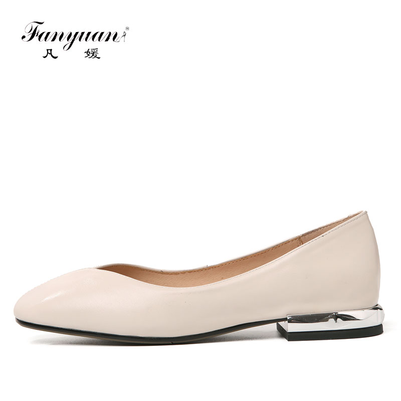 Fanyuan womens genuine leather Solid color low heels Retro pumps brand designer square toe OL style comfort ladies heels shoes<br>
