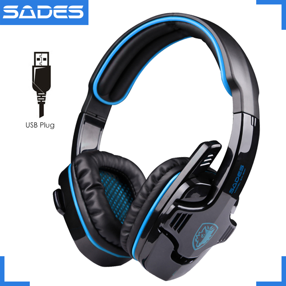 Original SADES SA-901 7.1 USB Gaming Headset Professional E-Sports Game Headphones With Microphone For Computer<br>