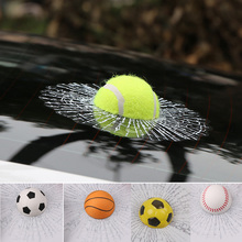 Funny Auto Car Styling Ball 3D Car Stickers Hits Car Body Window Sticker Self Adhesive Baseball Tennis Decal Accessories