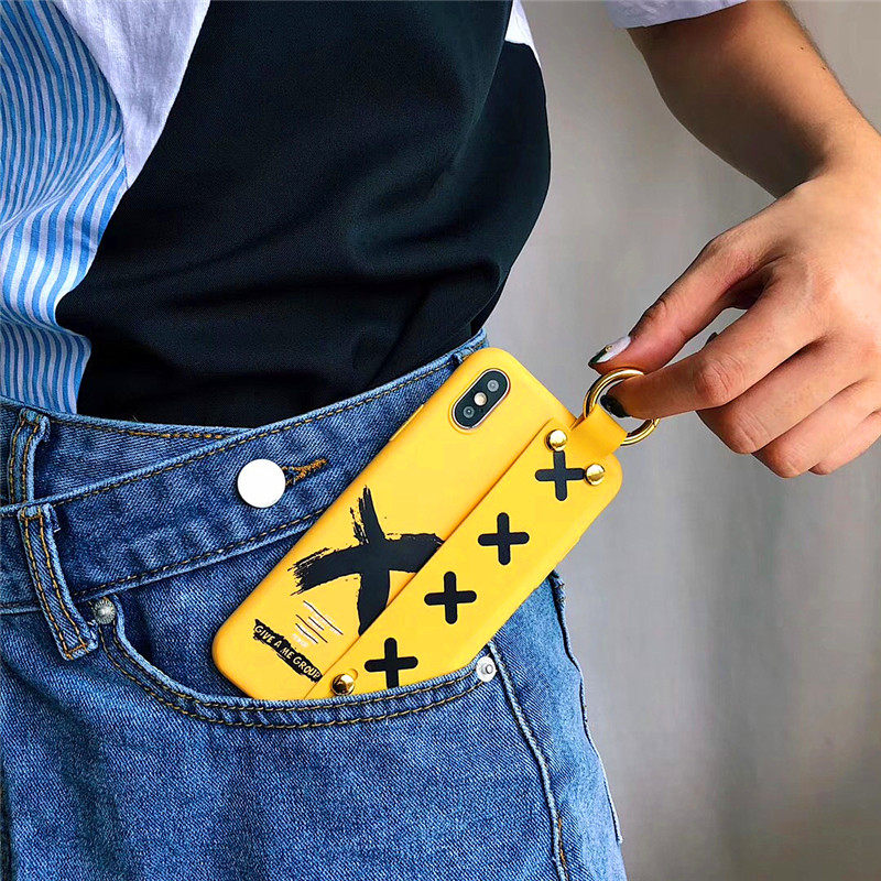 LUDI Hipster Simple letter Yellow Phone Case for iPhone 7 7Plus Soft TPU Fashion Wrist Strap Phone Bag for iPhone X 6 6s 8 Plus 7