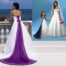 2016 Best Selling High Quality A Line Strapless Floor Length Lace-up Satin Bridal Gown Embroidery Purple and White Wedding Dress