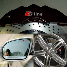 4 pcs Durable RS Sline S line emblem logo Car PVC Race Trim Sticker Caliper Disc Brake wheel cylinder For Audi A4 A6 A5 A7 A3Q3(China)