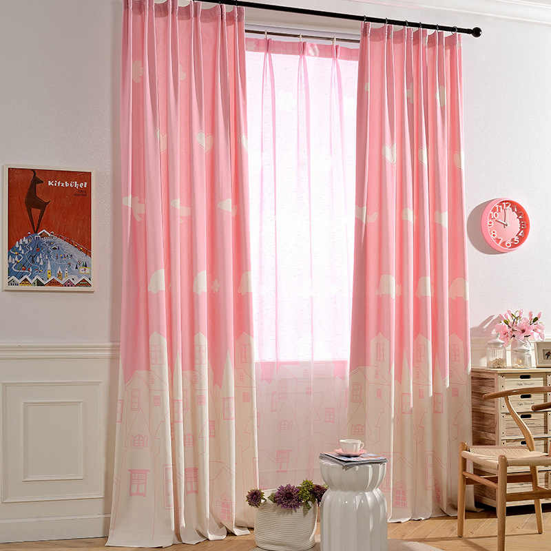 Pink Blue Cartoon Castle Printed Kids Room Curtains for Baby Girl Children Curtain And Tulle