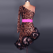 Latin dance costume senior sexy spandex leopard single sleeves latin dance dress for women latin dance competition dresses S-4XL