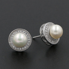 Natural Freshwater Pearl Stud Earrings 925 Stering Silver Jewelry Round Cubic Zirconia Ear Studs for Women(China)