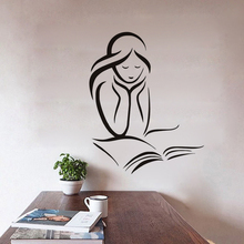 EHOME A Girl Reading A Book Wall Decals Vinyl Removable Home Decor Wall Stickers Girl'S Room Wall Decorative Sticker