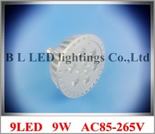 die casting aluminum LED spot light lamp spotlight bulb LED par light parlight E27 AC85-265V 9LED 9W 720lm 50pcs/lot