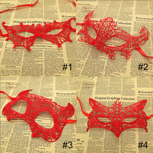 5Pcs/Lot Red Hard Lace Mask Party Sexy face Masquerade Mask Venetian Carnival halloween cosplay Venetian mask
