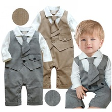 2017 Spring Long Sleeve Baby boys clothes Tie Handsome Baby Rompers Beige Fashion Infant Tuxedo Party Costumes Top Quality