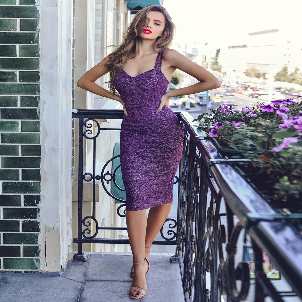 Sexy Shiny Dress Women Spaghetti Strap Glitter Dresses For Women Back Split Ladies Bodycon Midi Dress Party Clubwear Vestidos 3