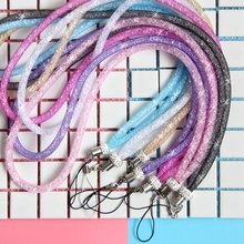 1 Pcs Universal Mobile Phone Strap Long Lanyard Luxury Flash Crystal Diamond Candy Color Cellphone Sparkling Hanging Neck Rope(China)