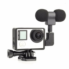 Mini Stereo Microphone For Gopro Hero 4 3+ 3 Accessories Protective Frame Case Mount For Go Pro Action Camera 3.5Mm No Noise Mic