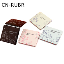 CN-RUBR Plant Printing Mirror Mini Dual Sides PU Portable Makeup Mirror Pocket Stainless Steel Frame Compact Cosmetic Mirrors
