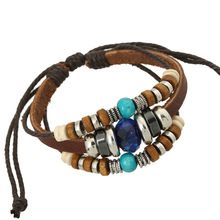 Korea Style Jewelry Accessories Beaded Wrap Leather Bracelet Bangle For Women Men Jewelry Metal Wooden Beads Charms Braided Rope