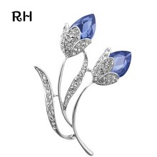Romantic Women Silver plated Blue Crystal Double Flower Brooch broches for women and men wedding jewelry christmas gift brooches