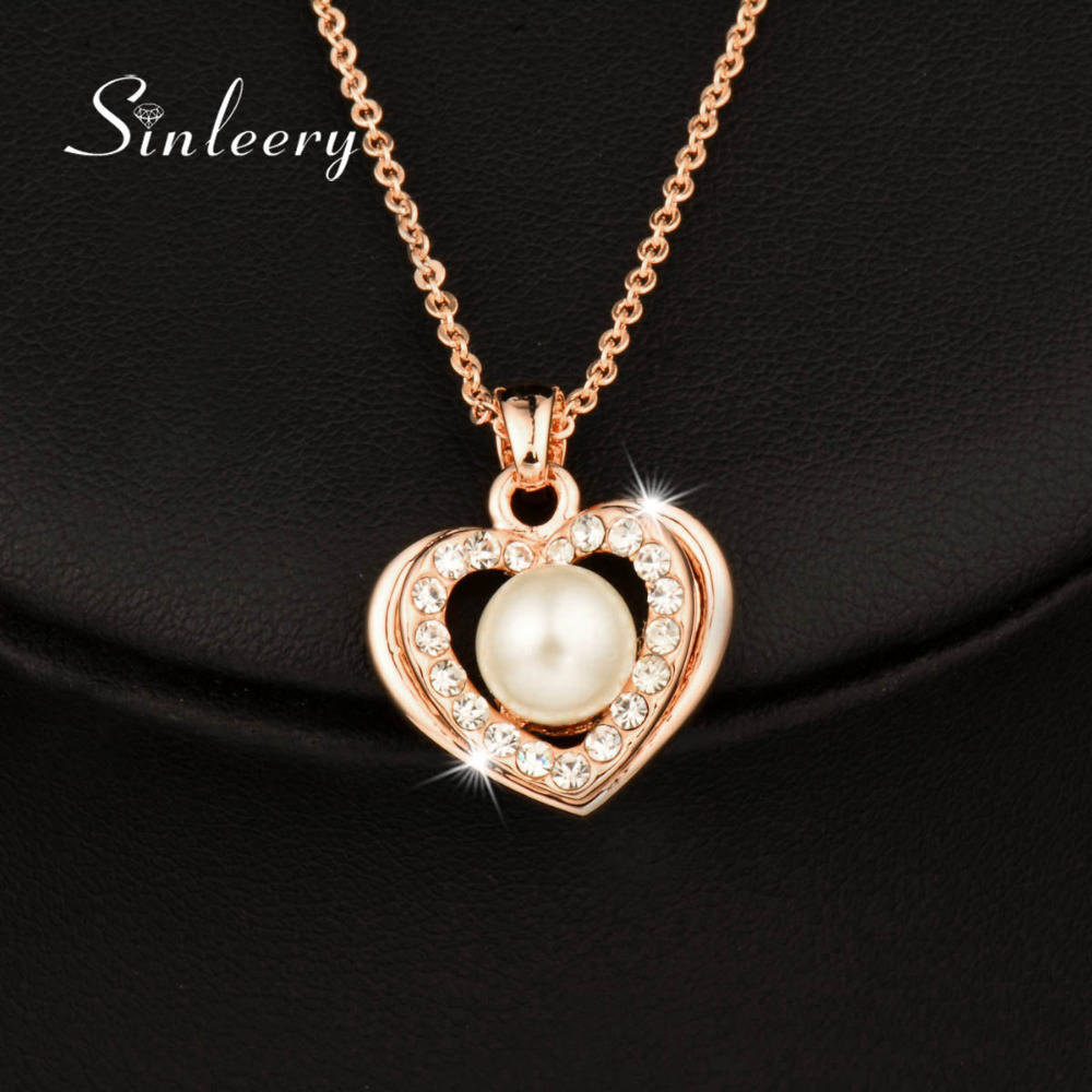 SINLEERY Romantic Simulated Pearl Heart Necklace &Pendant Rose Gold Color Wedding Jewelry for Bridals Brincos XL265 SSJ(China (Mainland))
