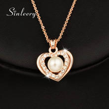 SINLEERY Romantic Simulated Pearl Heart Necklace &Pendant Rose Gold Color Wedding Jewelry for Women Bridals Brincos XL265 SSJ(China)
