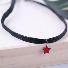 925 sterling silver simple wild personality under the black rope hanging five-pointed necklace female t0485(China)