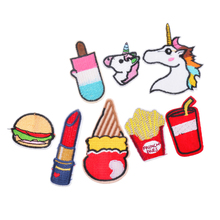 8 PC mixed cartoon jeans clothing application patches applique embroidery unicorn line sewing accessories, iron ironing paste(China)