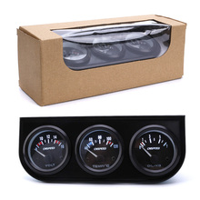 CNSPEED 52mm 12V Triple Gauge Kit Water Temp Gauge Oil pressure Voltmeter Temperature With Sensor Auto Gauge Car Meter 3in1(China)