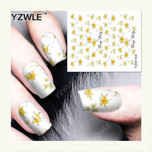 Water Transfer Nailsstickers for nail art Yellow Little Flower Nail Wraps Sticker Fingernails Decals manicure stickers [YZW164](China)