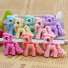 50pcs/Lot 35x35mm Cartoon My Little Pony Horse Resin Cabochon Flatbacks DIY Flat Back for Hair Bow Center Embellishment Decor