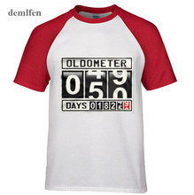 Rock Heavy Metal Style Oldometer 50 Years Old Men T-shirt Funny Fifty Years 18250 Days Age Odometer Design Raglan sleeves Tops