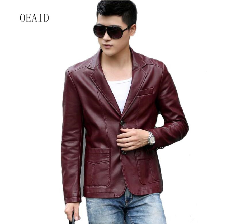 New Men's leather clothing Casual leather blazers 2019 spring autumn leather jacket men business casual leather coat outerwear