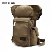 2016 New Stylish Retro Vintage Men Canvas Waist Leg Bag Men's Casual Travel Bags tactics multi functional Casual bag ZD260(China)