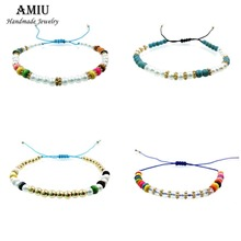 AMIU Handmade Friendship Bracelet Hippy Colorful Conch Beaded Charm Conch Seed Beads 1PCZ-L Cross Love Bracelets For Women Men