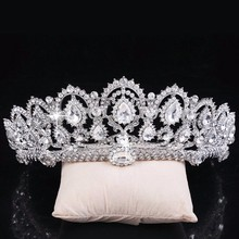 Vintage Big Rhinestone Prom Queen Crown Crystal Bride Quinceanera Tiaras Bridal Head Jewelry Pageant Wedding Hair Accessories