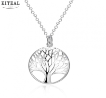 Wholesale Silver Tree Of Life 20inch Pendant Necklace Best gift girl women wedding love SMTN802