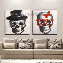 Hand Painted Cool Oil Painting for Home Decor Hang Paintings Modern Skeleton Art Picture Halloween Gift Abstract Canvas Painting(China)