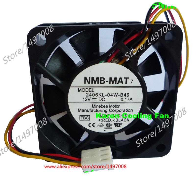 Free Shipping For NMB  2406KL-04W-B49, TBC  DC 12V 0.17A 3-wire 3-pin 70mm connector, 60x60x15mm Server Square fan<br>