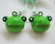 Free Shipping 20 pcs Cute Cartoon Frog Pendant Cell Phone Charm Straps key chians with Bell Cartoon For Gift FC-32(China)