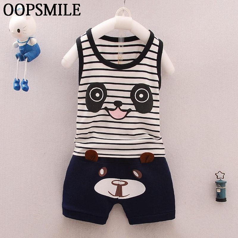 Baby kids boys clothes top vest /& short pants 2PCs summer daily Outfits panda