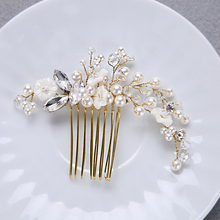 Popular Gold Color Crystal Wedding Bridal Comb Small White Flower Girl Haiwear Simulated-pearl Crystal Women Hair Accessories(China)