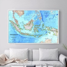 Indonesia Map Quote Canvas Art Print Poster Wall Pictures For Bed Room Decoration Home Decor Silk Fabric No Frame(China)