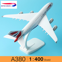20cm Alloy Metal Air British Airways Airlines Airbus 380 A380 Plane Model Aircraft Airplane Model w Stand Craft Gift(China)