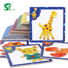 Montessori Wooden Toys for Children 3D Magnetic Puzzles Tiger/Bear/Frog Cartoon Animals kids toys Tangram baby toys(China)