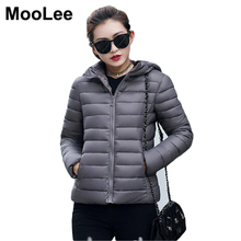 MooLee 2017 New Women Winter Jacket Slim Hooded Thin Short Coat  Thick Warm Feather Cotton Parka Outerwear Coats