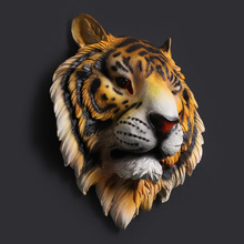 Home Decoration Accessories Animal Head Tiger Hanging Wall Mural Pendant Bar Living Room escultura sculpture buddha statue(China)