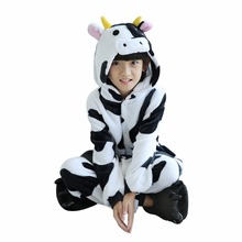 Girls Cute Dairy cow Pajamas warm Autumn Winter Homewear Children's pajamas cartoon Animal pajamas for Kids boy Sleepwear(China)