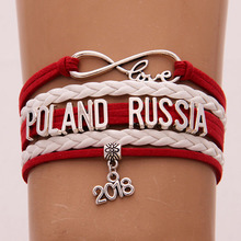 (10pcs/lot)2018 Charm National Flag POLAND RUSSIA Infinity Love Handmade Bracelets World Cup Jewelry For Football Fans Best Gift(China)