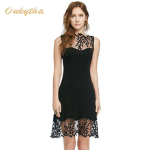 Oukytha Summer Dress Vintage Style Dress Sexy Lace Stitching Pierced Solid Color Classic Black Slim Short Sleeveless DressM15121